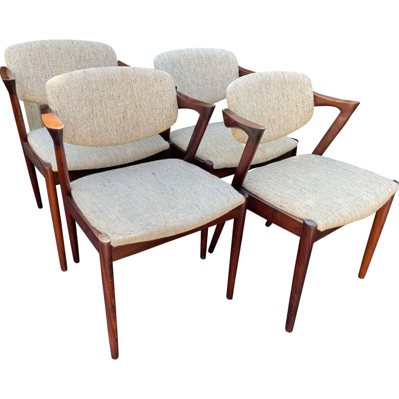 Set of 4 vintage model 42 rosewood and wool fabric armchairs by Kai Kristiansen