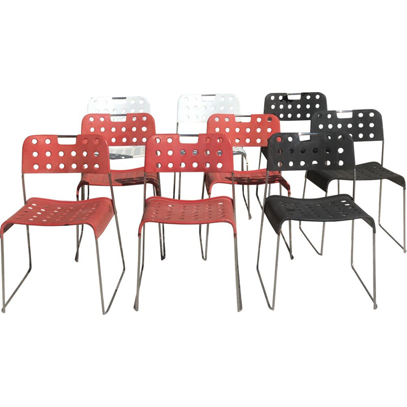 Set of 9 vintage stacking chairs by Omstak Rodney Kinsman for Bieffeplast, Italy 1960s