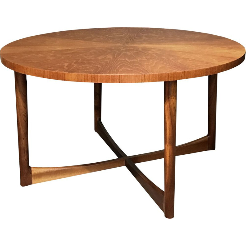 Mid-century Starburst collection teak round coffee table by Tom Robertson for A.H. McIntosh