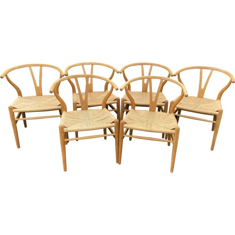 Set of 6 vintage Wishbone wooden chairs by Hans Wegner for Carl Hanson & Son