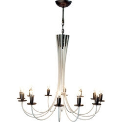 Italian chandelier in white lacquered metal with 12 lights - 1950s