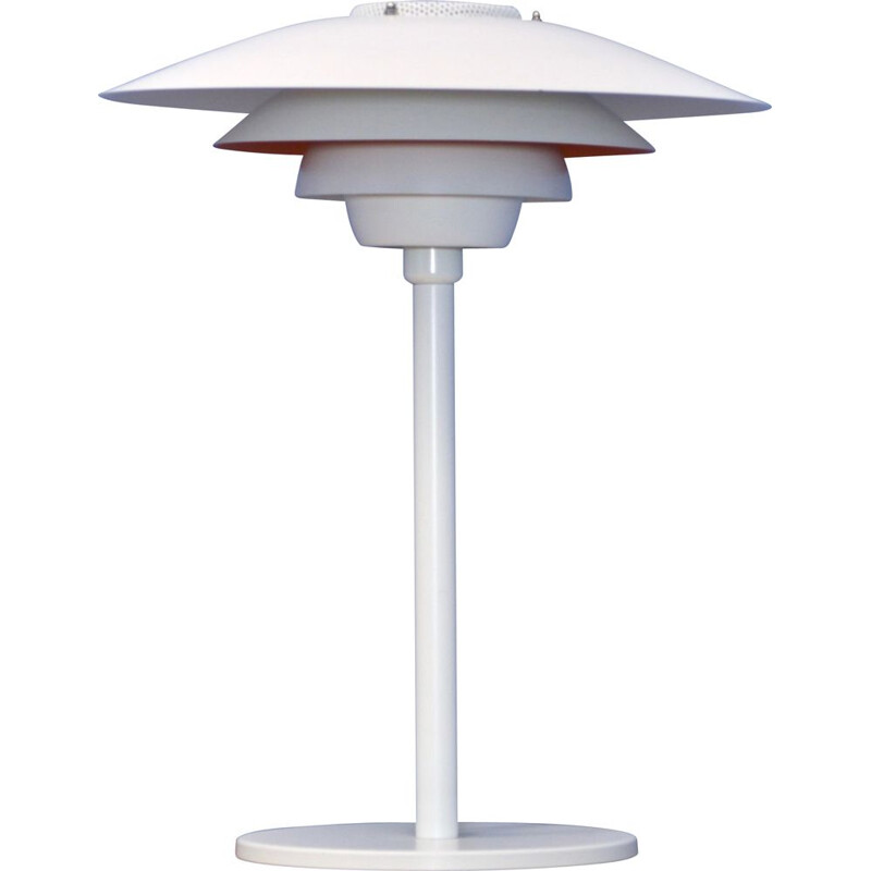 Danish vintage table lamp in white with orange terra accent by Jeka, 1980s