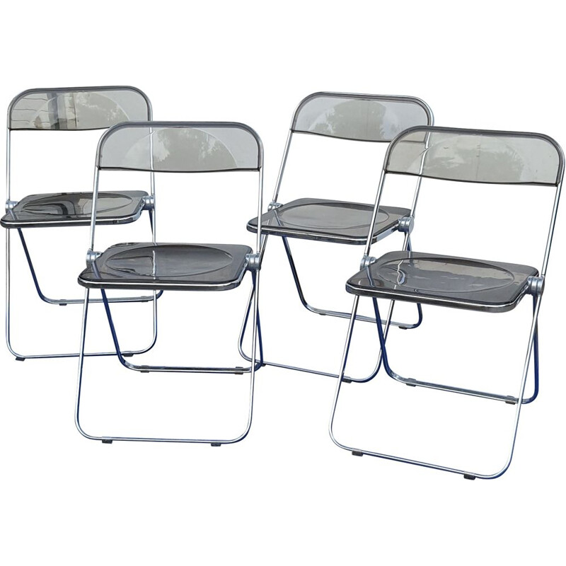Set of 4 vintage chairs in chromed metal and smoked plexiglas by Giancarlo Pirelli for Castelli