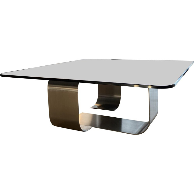 Vintage coffee table in smoked glass and stainless steel by François Monnet, 1970s