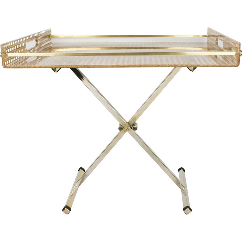 Vintage folding side table in plexiglass and cane by Christian Dior Home, 1970