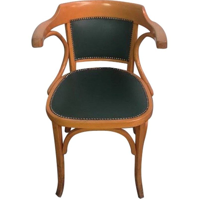 Vintage beechwood and leather office chair by Baumann, 1960s