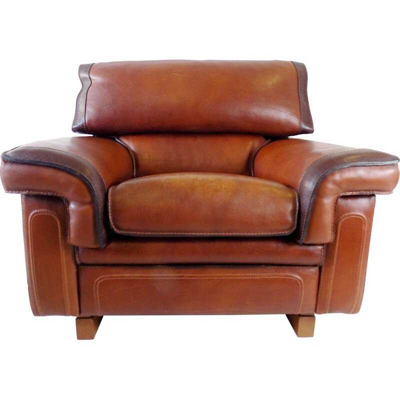 Mid century leather armchair by Roche Bobois, 1970s