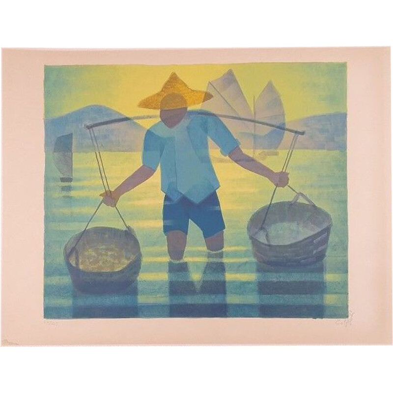 """Original vintage lithograph """"Rice field"""" by Toffoli"""