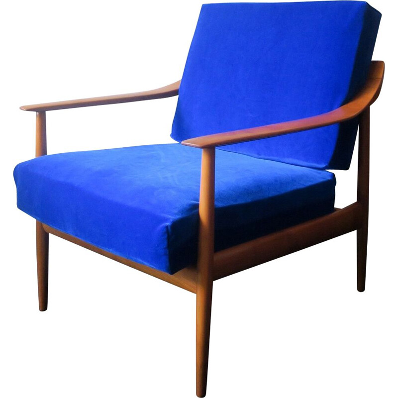 Mid century blue velvet armchair with curved back & sprung cushions, 1960s