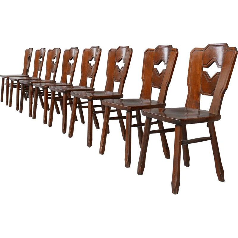 Set of 8 vintage wooden Dutch dining chairs, 1960s