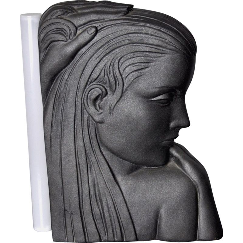 Vintage lamp with female bust in plaster, France 1970