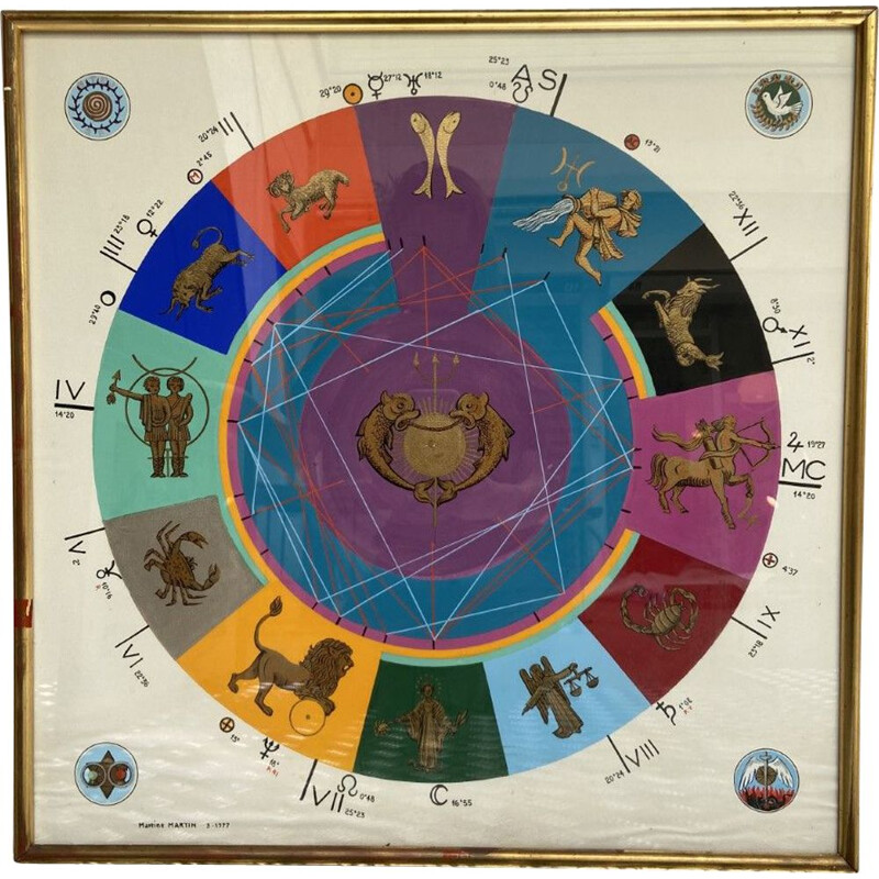 Vintage poster The signs of the zodiac by Martine Martin, 1977