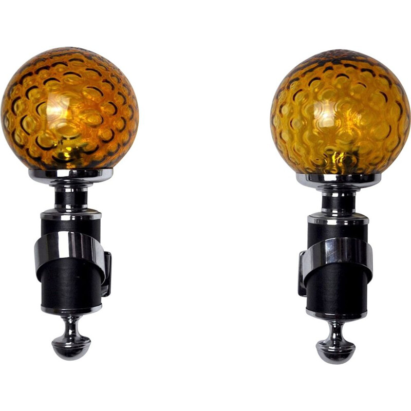 Pair of vintage Murano wall lamps in chromed metal, Italy 1970