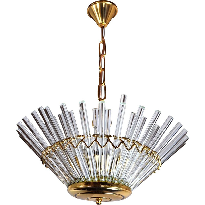 Vintage glass chandelier from the House of Sciolari, Italy 1970