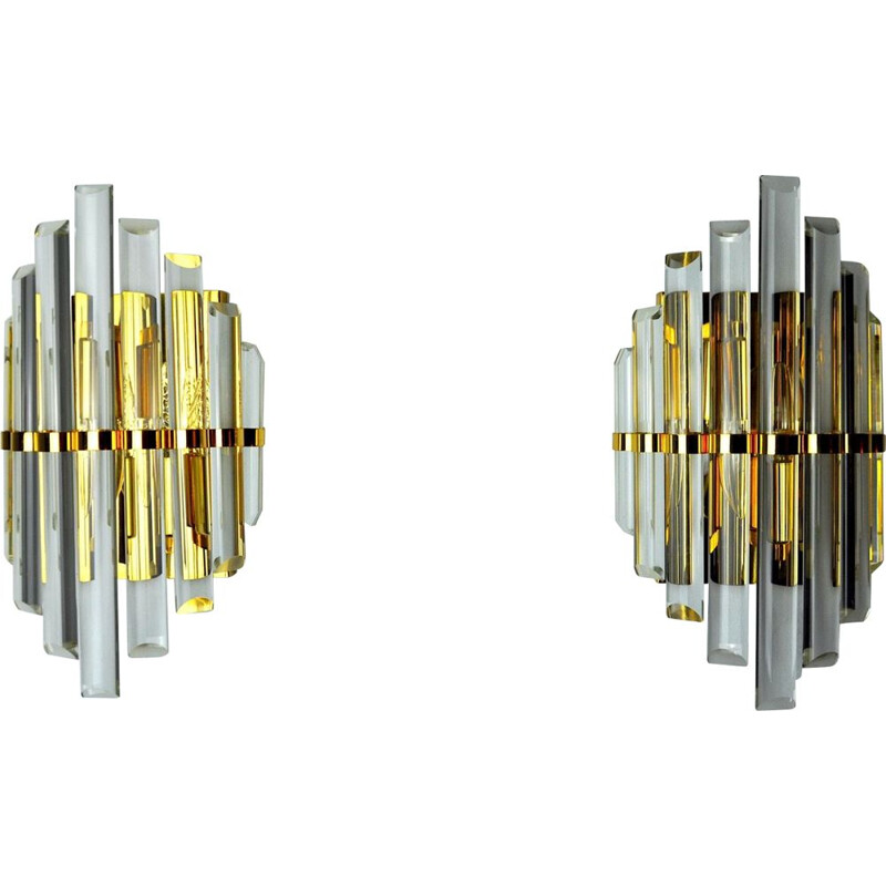 Pair of vintage Venini wall lamps, Italy 1970s