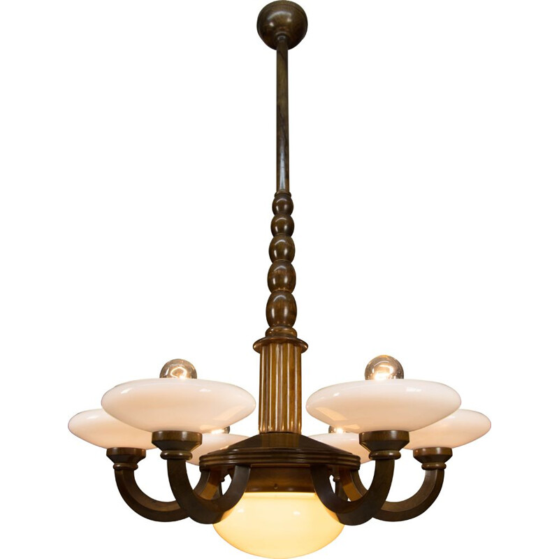 Vintage wood and glass Art Deco chandelier, 1930s