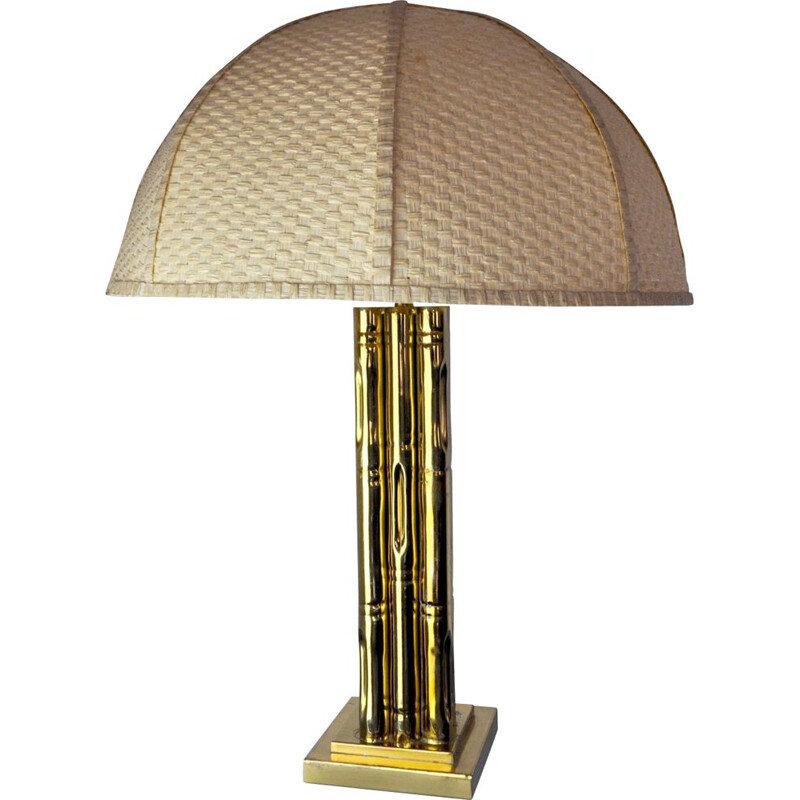 Vintage brass and rattan lamp, France 1970