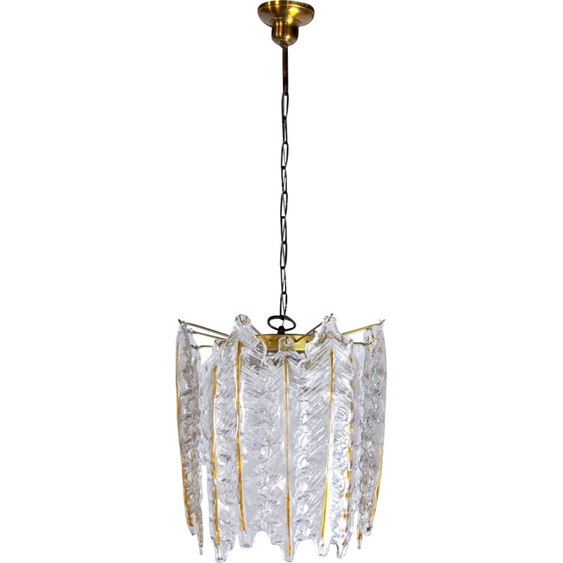 Vintage frosted Murano glass chandelier, Italy 1970