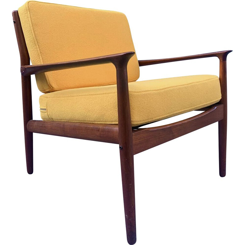 Vintage Danish armchair in teak and yellow fabric by Grete Jalk, 1970