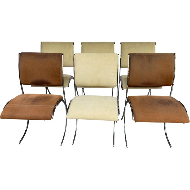 Set of 6 vintage chairs by Boris Tabacoff for Christofle, 1970