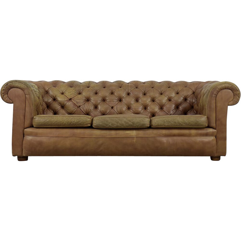 Mid century brown leather Chesterfield sofa, 1970s