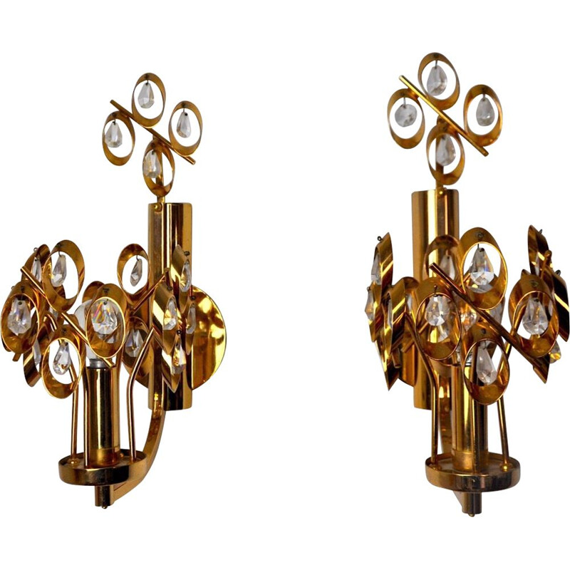 Pair of vintage Palwa wall lamps by Ernest Palm, Spain 1960