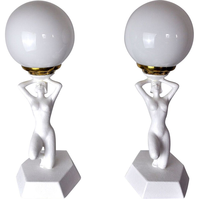Pair of vintage lamps in resin and plaster, 1980