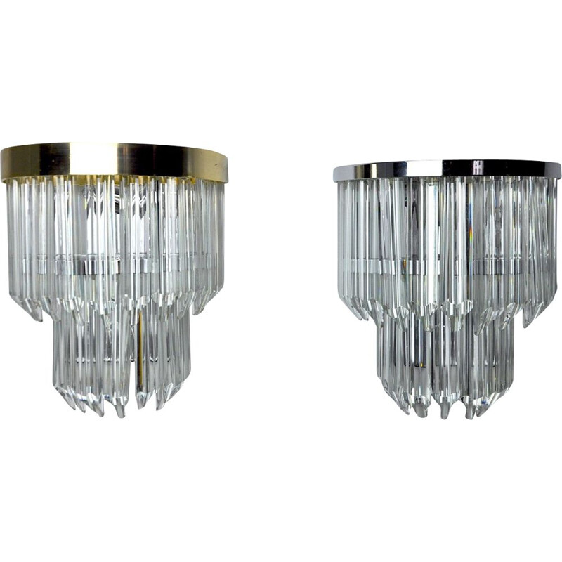 Pair of vintage wall lamps by Venini, Italy 1970