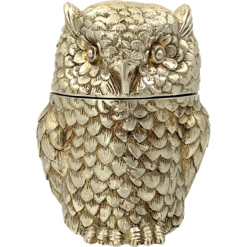 Vintage silverplate owl ice bucket by Mauro Manetti, Italy 1970s