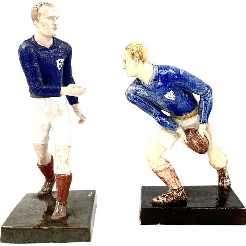 """Pair of vintage sculptures """"les joueurs de rugby"""" by Willy Wuilleumier for G.A.M., France 1940"""