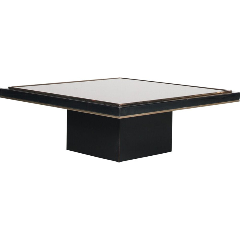 Vintage black wood and glass coffee table, 1980s