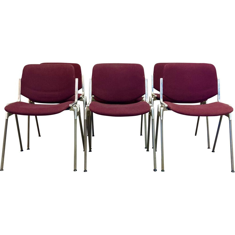 Set of 6 vintage stacking chairs by Giancarlo Piretti for Castelli, 1960s