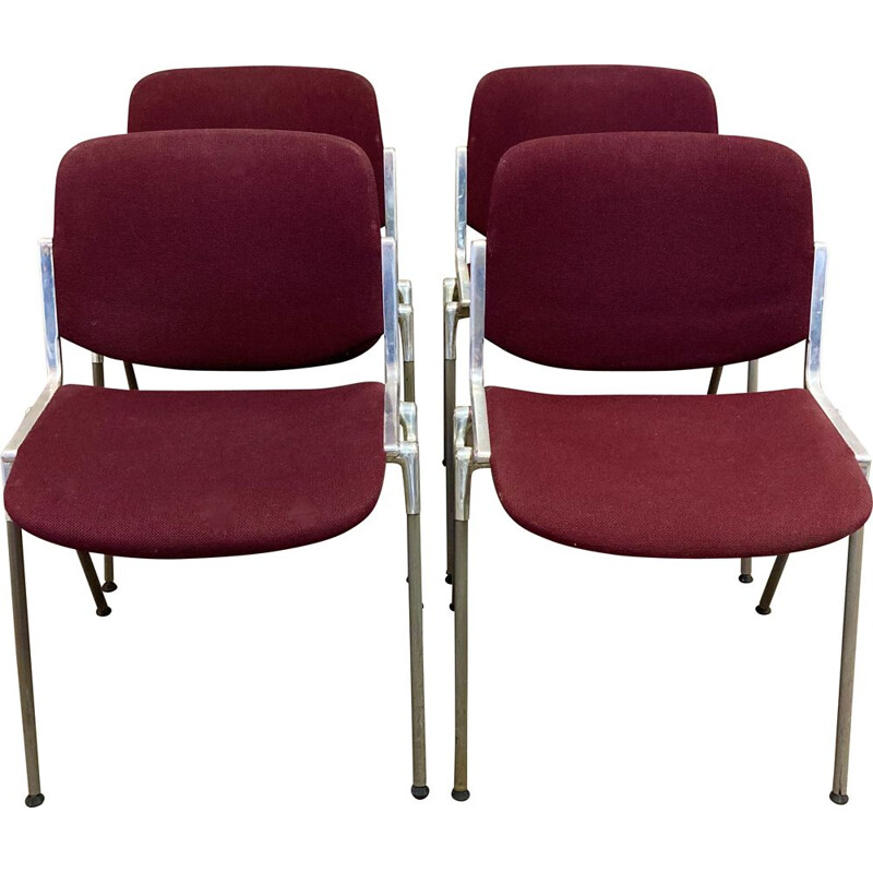 Set of 4 vintage stacking chairs by Giancarlo Piretti for Castelli, 1960