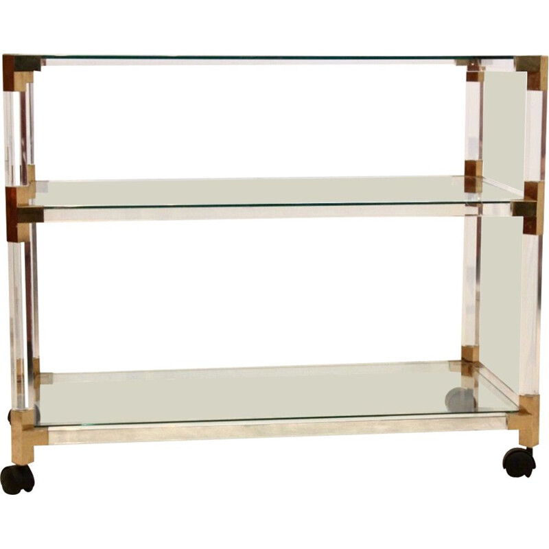 Mid century lucite & gold French trolley by Pierre Vandel, 1970s