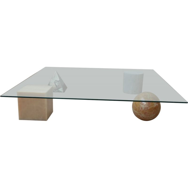 Italian mid-century marble and glass Vignelli coffee table, 1970s