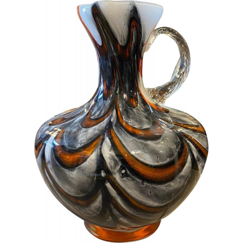 Mid-century red and gray opaline glass jug, Italy 1970s
