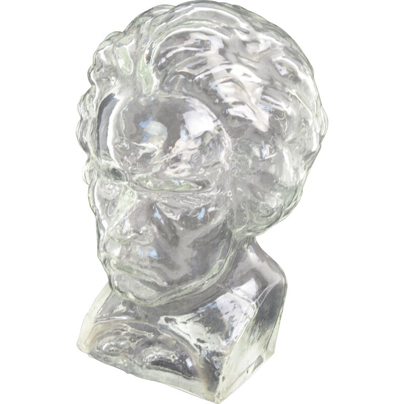 Vintage Beethoven glass portrait by Ingrid Glass, Germany 1970s