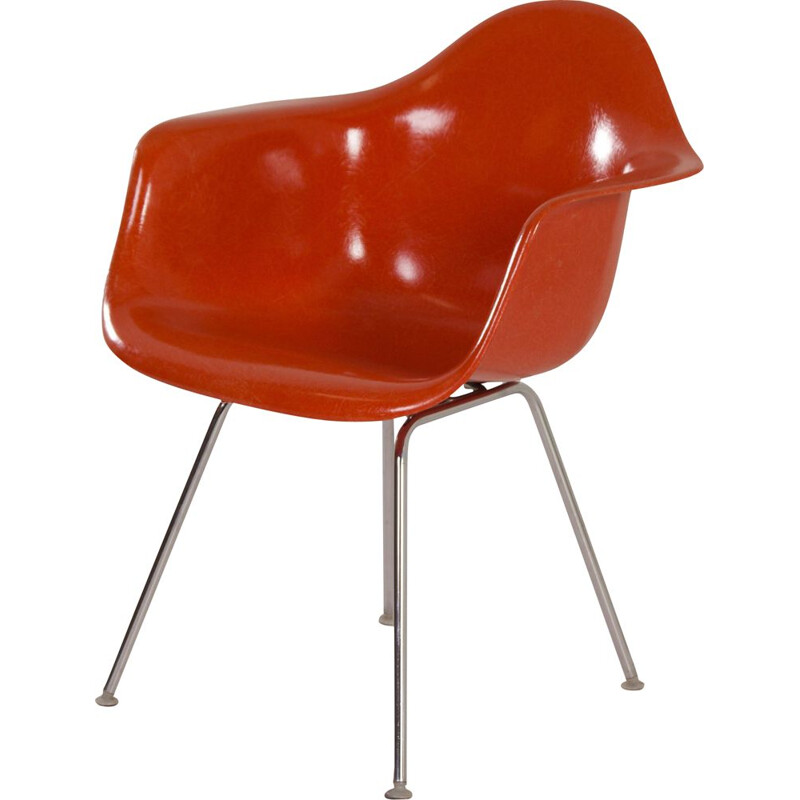 Vintage orange DAX armchair by Charles & Ray Eames for Herman Miller, 1970s