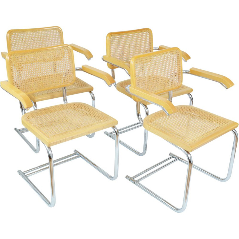 Set of 4 vintage wood and rattan chairs with armrests, Italy 1970s
