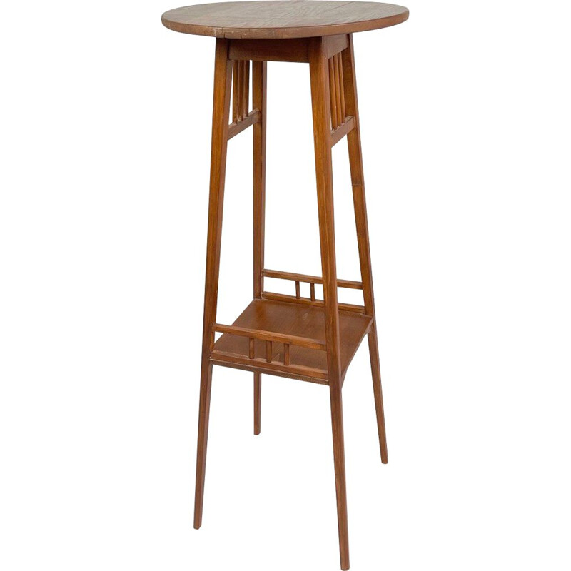 Vintage tall wooden plant stand, 1930s
