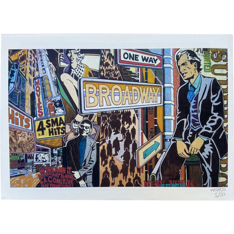Mid century Broadway lithograph by Marc Ferrero