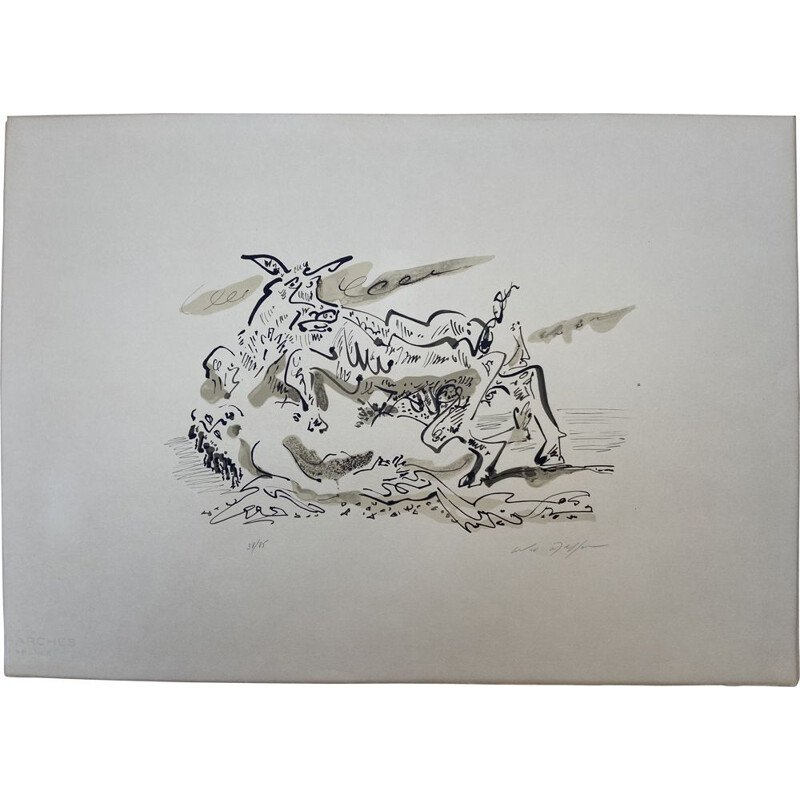 Vintage lithograph The Rape of Europa by André Masson