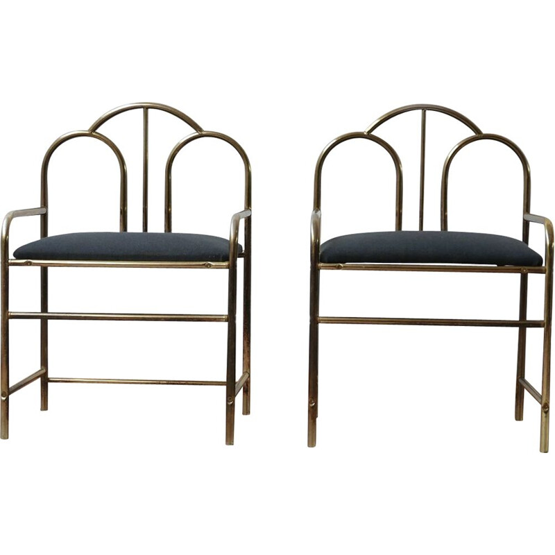 Pair of French Art Deco vintage chairs, 1970s