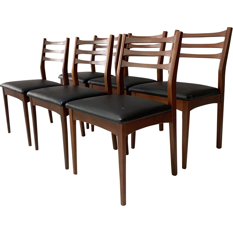 Set of 6 vintage solid teak dining chairs, 1960s