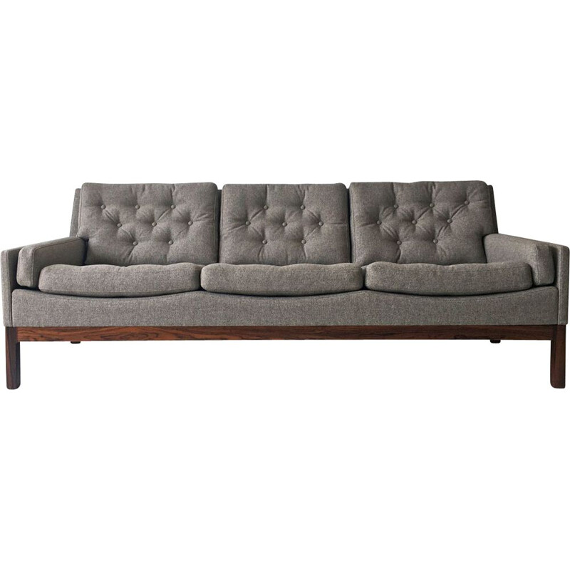 Vintage rosewood and grey fabric sofa, Denmark 1960s
