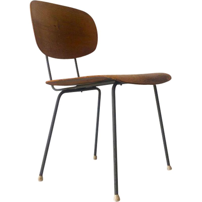 Vintage beechwood chair by Wim Rietvield for Gispen, 1952
