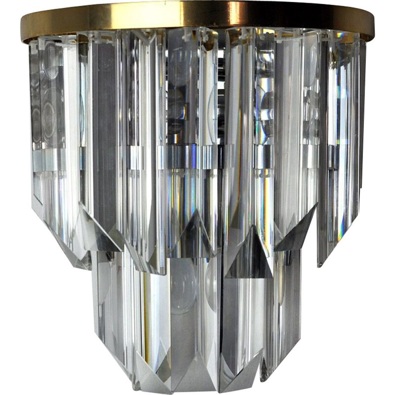Venini vintage wall lamp in cut glass and silver plated metal structure, Italy 1970