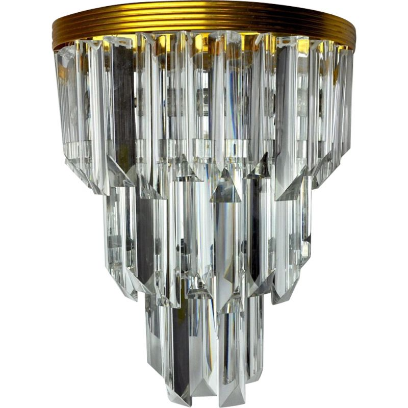 Vintage Murano glass and chrome-plated metal wall lamp by Venini, Italy 1970