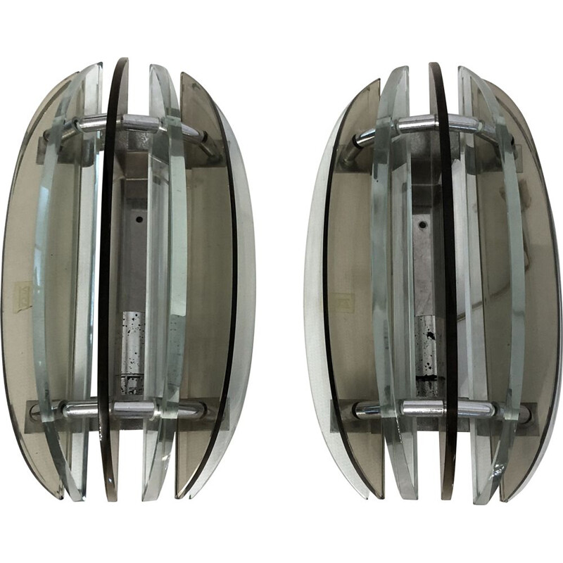Pair of vintage Italian glass wall lamps by Veca, 1960s