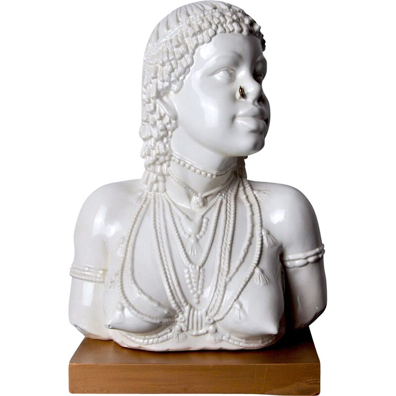 Vintage sculpture of a white ceramic aboriginal woman bust, Italy 1970
